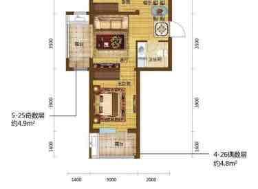 格林喜鹊花园 2室2厅1卫32.00㎡