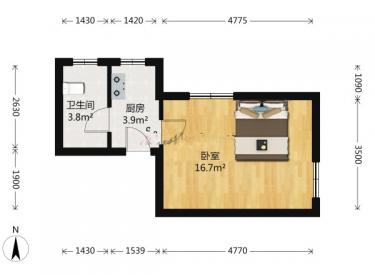 奥园会展广场 1室 1厅 1卫 39.52㎡