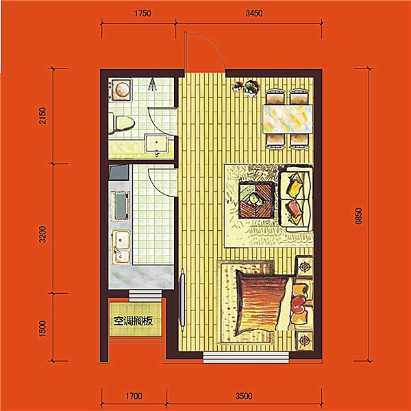华府丹郡·悦湖高层B4#43平一室一厅一卫