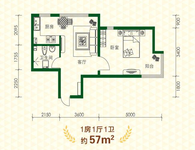 57㎡1室1厅1卫