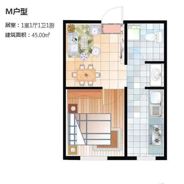 M户型45平一室一厅一卫
