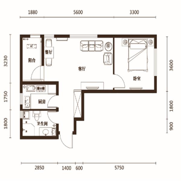 61平1室1厅1卫A户型