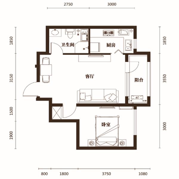 59平1室1厅1卫B户型