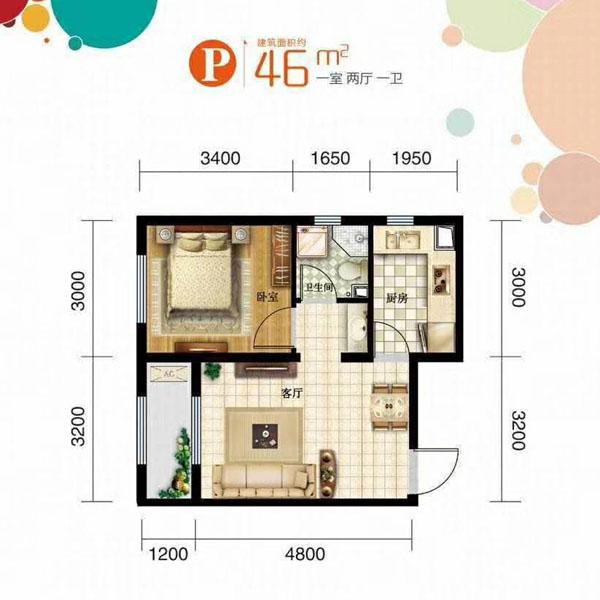 46平1室2厅1卫P户型