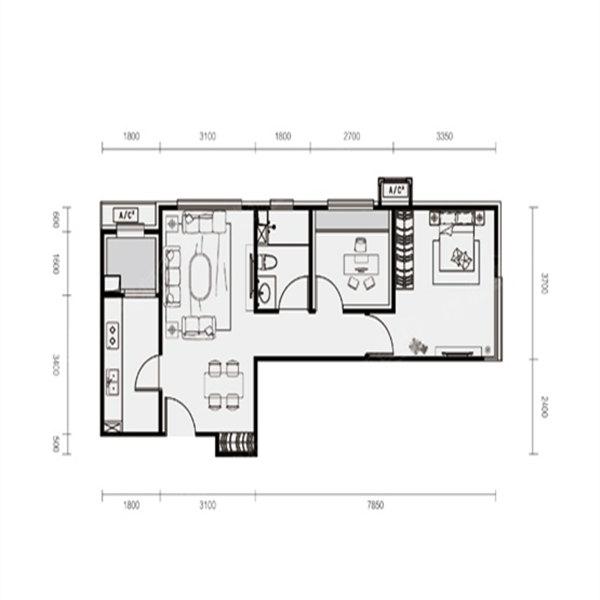64平2室2厅1卫D户型