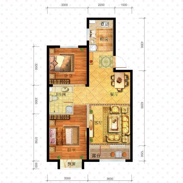 广厦绿园85.67平2室2厅1卫c1户型