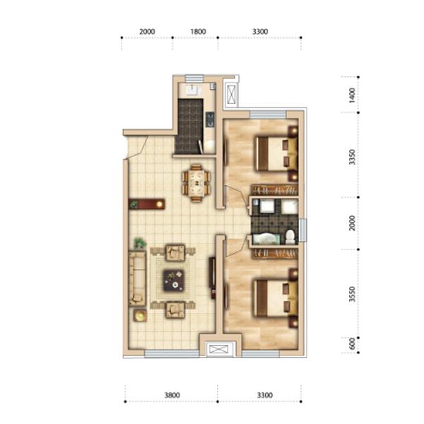 95平三室两厅一卫f1户型 房型信息: 3室2厅1卫 建筑面积: 88㎡ 赠送