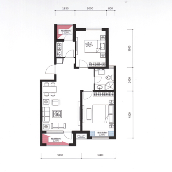 宏发·英里76.87平2室2厅1卫D户型