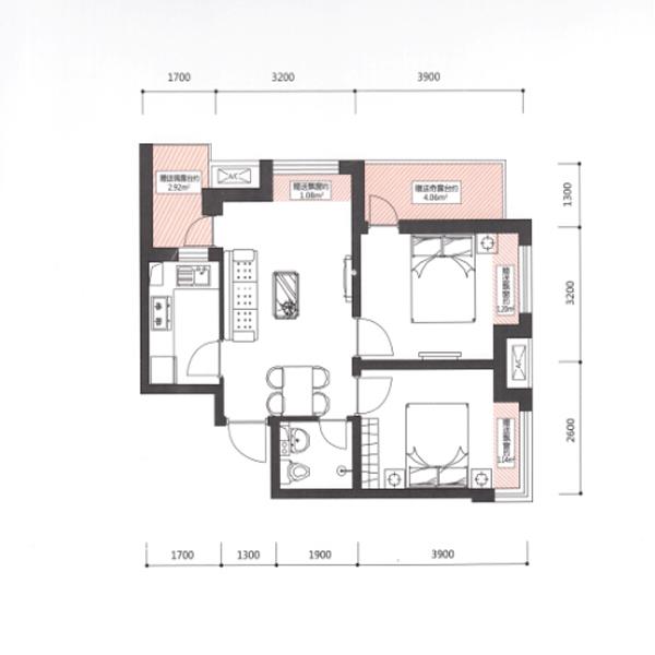 宏发·英里58.17平2室2厅1卫C户型