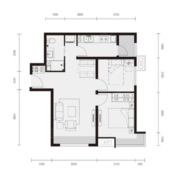 76平2室2厅1卫F户型