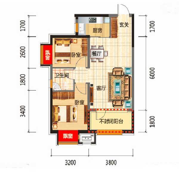 76平2室2厅1卫A3户型