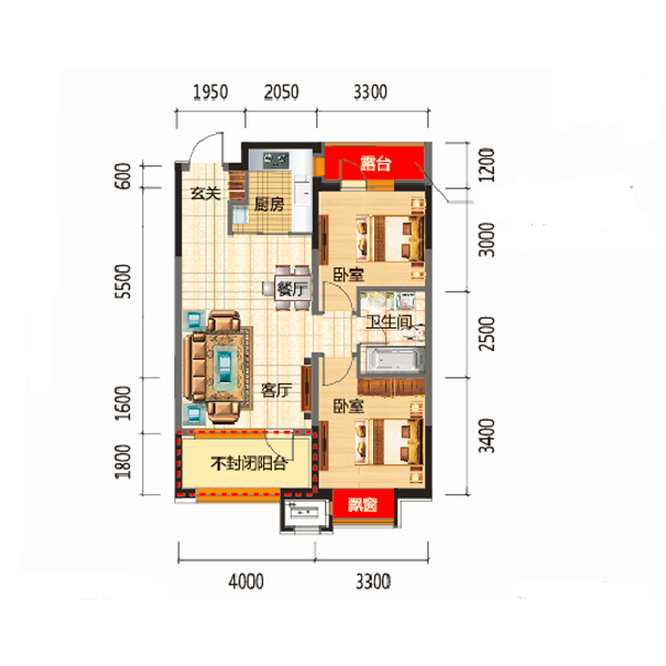 高层84平两室两厅一卫A4户型