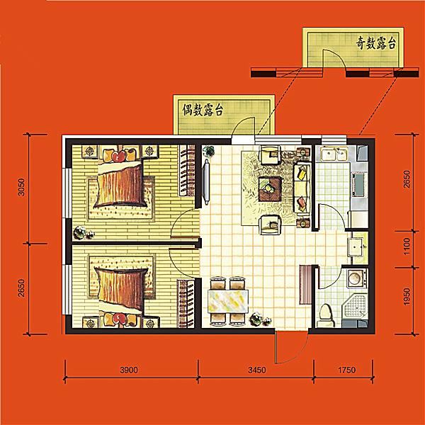 高层69平2室2厅1卫A 户型