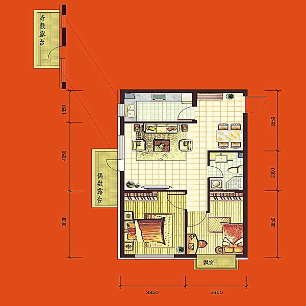 高层73平2室2厅1卫B 户型