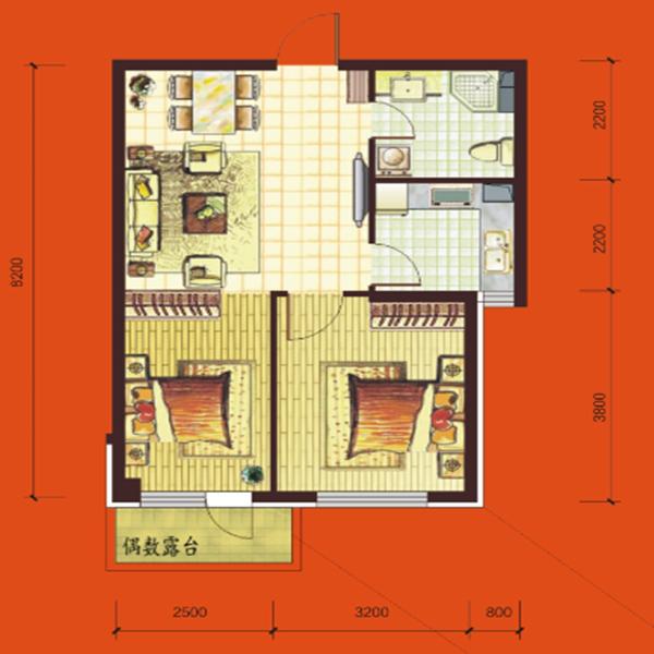 高层69平2室2厅1卫D户型
