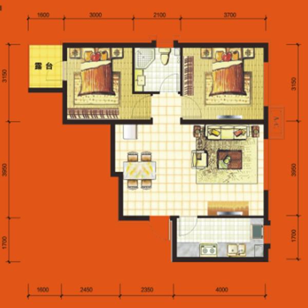 高层76平2室2厅1卫H1户型