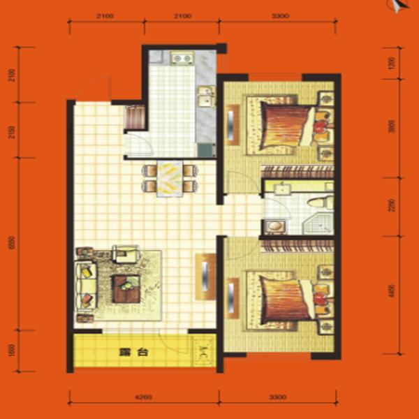高层96平2室2厅1卫H3-1 户型