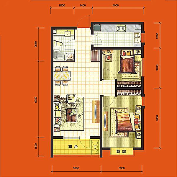 高层88平2室2厅1卫H2 户型