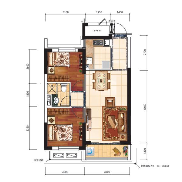 75平2室2厅1卫户型