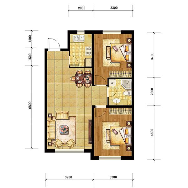 45平方一室一厅设计图展示
