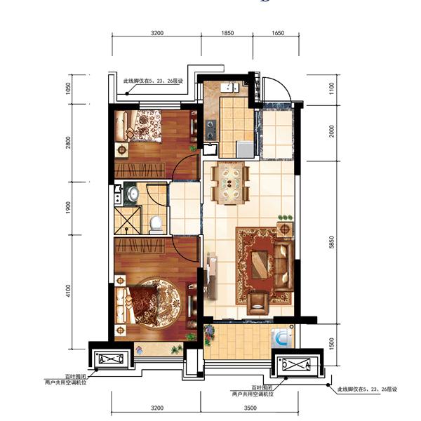 82平2室2厅1卫户型