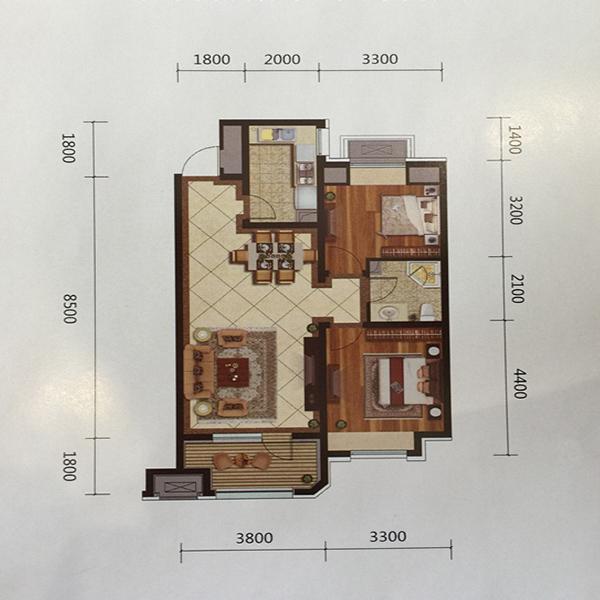 金地艺境高层87平两室一厅一卫