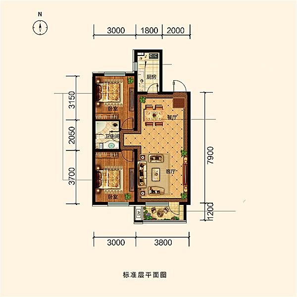 87平2室2厅1卫