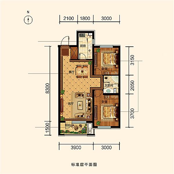 88平2室2厅1卫