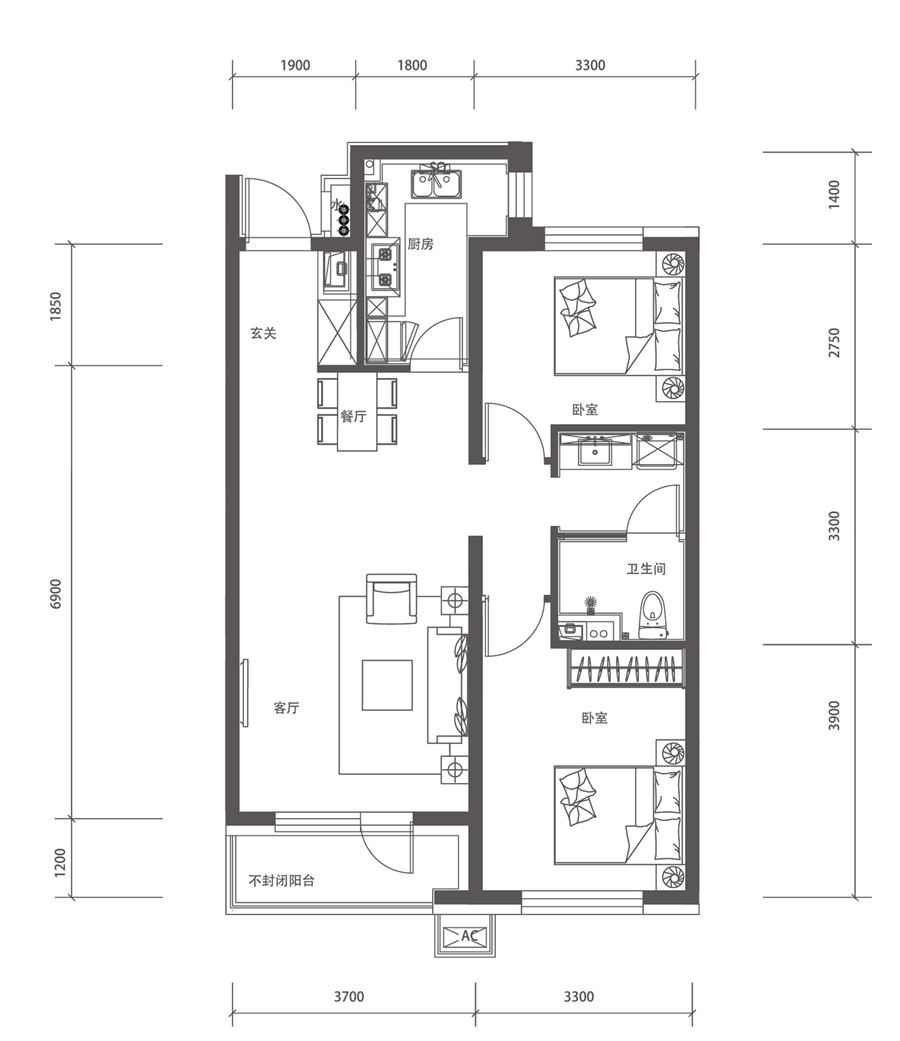 90平2室2厅1卫D户型