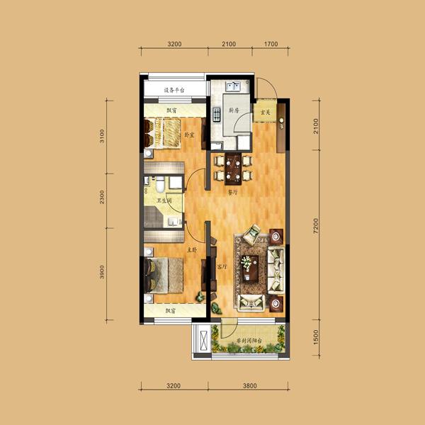 87平2室2厅1卫户型