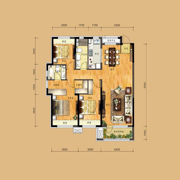 133平3室2厅2卫户型