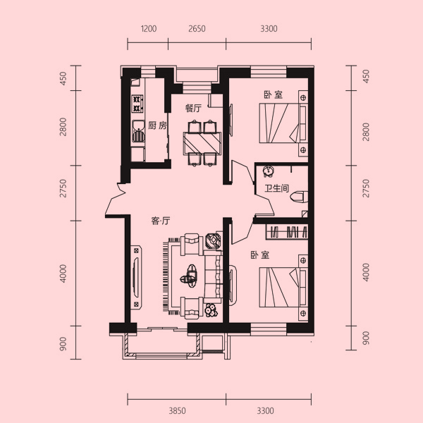 84㎡2室1厅1卫