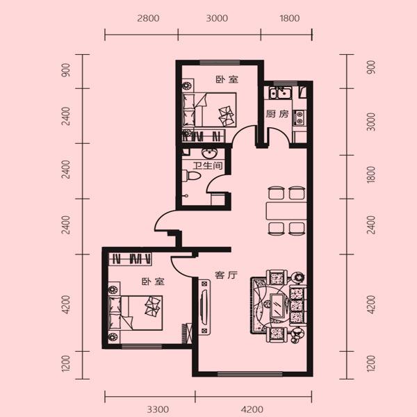 95㎡2室1厅1卫