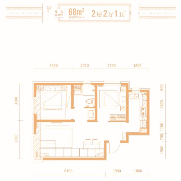 68平2室2厅1卫户型精装高层
