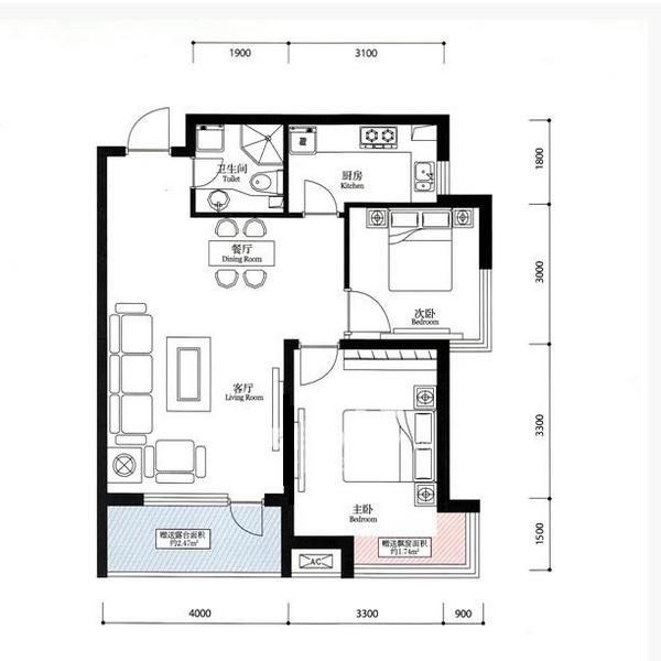 宏发·英里87.24平2室2厅1卫Bb户型