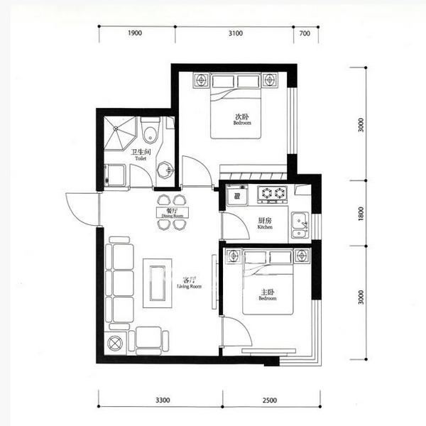 宏发·英里54.05平2室1厅1卫Cc户型