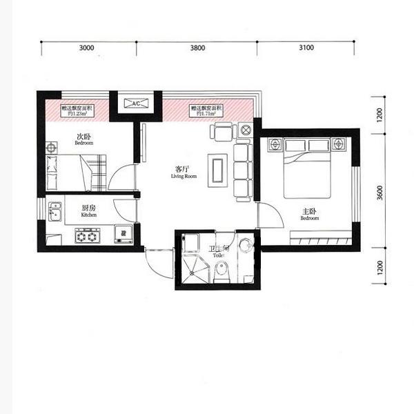 宏发·英里56.23平2室1厅1卫Dd户型