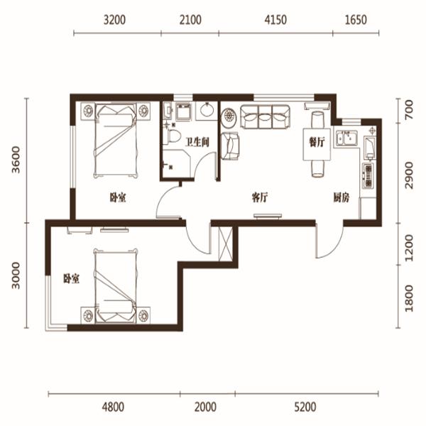 71平2室1厅1卫E户型
