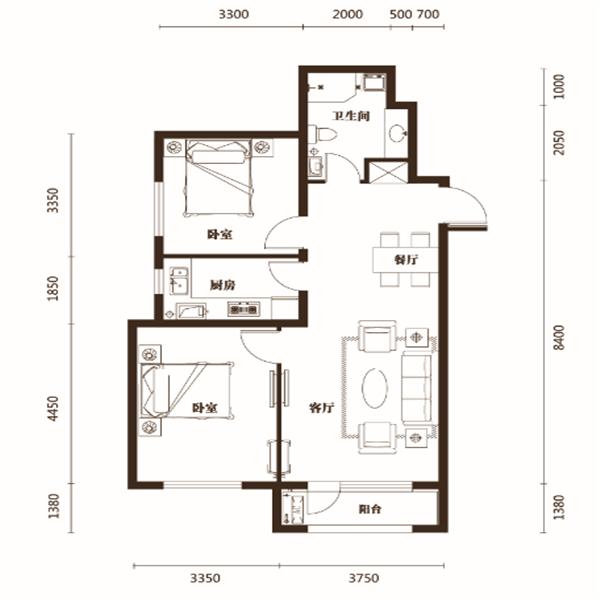 90平2室2厅1卫F户型