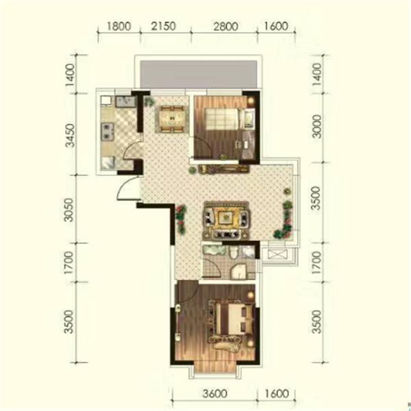 华海·蓝境高层81.56平2室2厅1卫G4C户型
