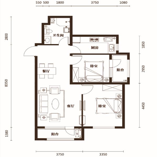 汇邦克莱枫丹高层88平二室二厅一卫C户型