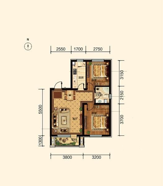 79平两室两厅一卫