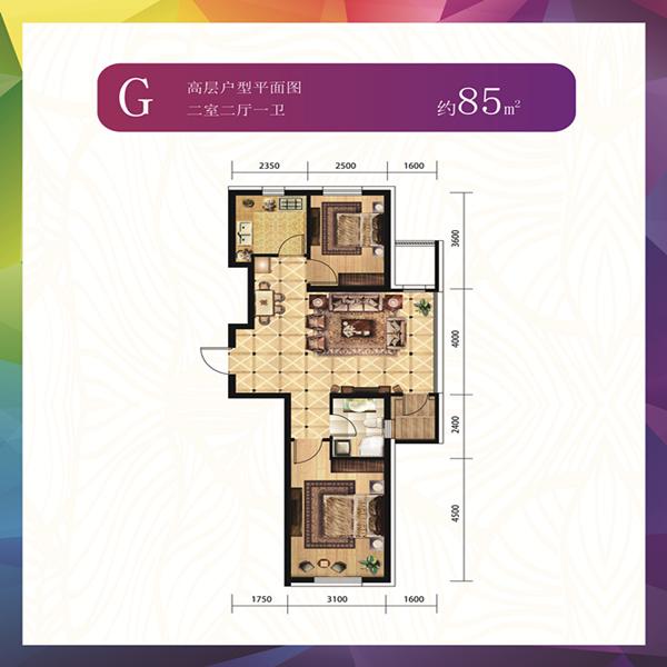 G户型85平两室两厅一卫