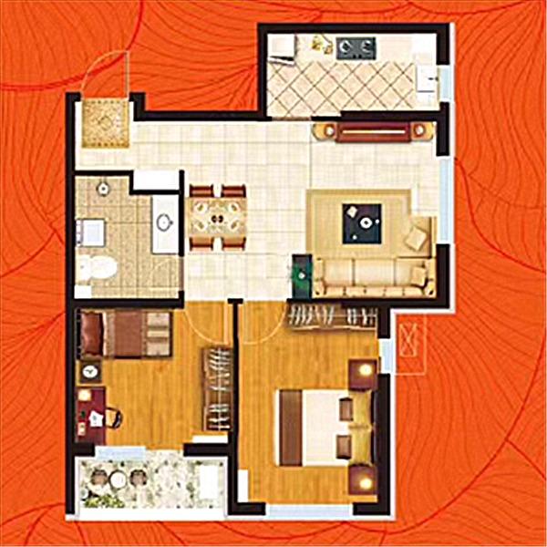 高层79平2室2厅1卫B户型