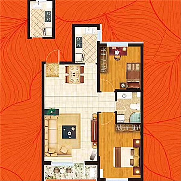 高层88平2室2厅1卫C户型