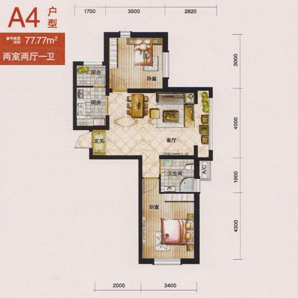 洋房77.77平2室2厅1卫A4户型