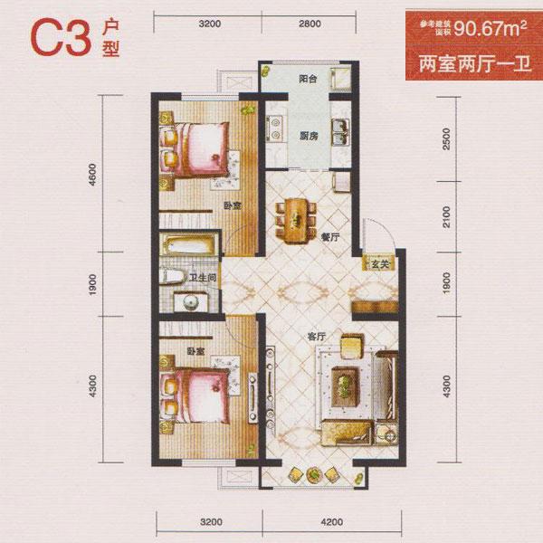 91㎡2室2厅1卫