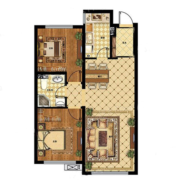 各个空间方正,后期空间利用率高。全明通透的户型,居住舒适度较高。整个空间有充足的采光,这一点对于后期居住,尤其重要。卧室位置合理,能够保证足够安静,客厅的声音不会影响卧室的休息;卫生间位置合理,使用起来动线比较合理;厨房位于门口,方便使用和油烟的排出。卧室作为较为重要的休息空间,尺寸合适,有利于主人更好的休息;客厅作为重要的会客空间,尺寸合适,能够保证主人会客需求。卫生间和厨房作为重要的功能区间,尺寸合适,能够很好的满足主人生活需求。公摊相对合理,一般房子公摊基本都在此范畴。日常使用基本满足。