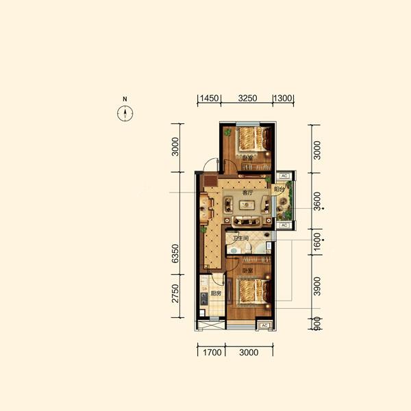 74平2室2厅1卫