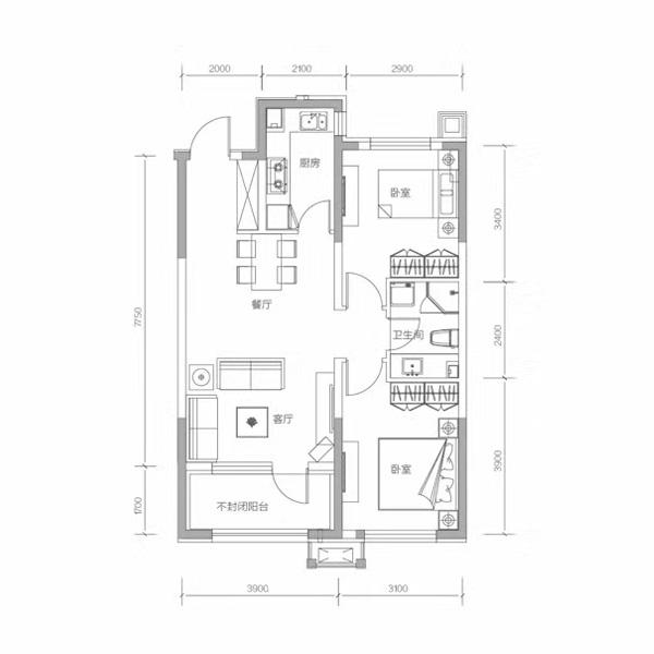 87平2室2厅1卫E户型